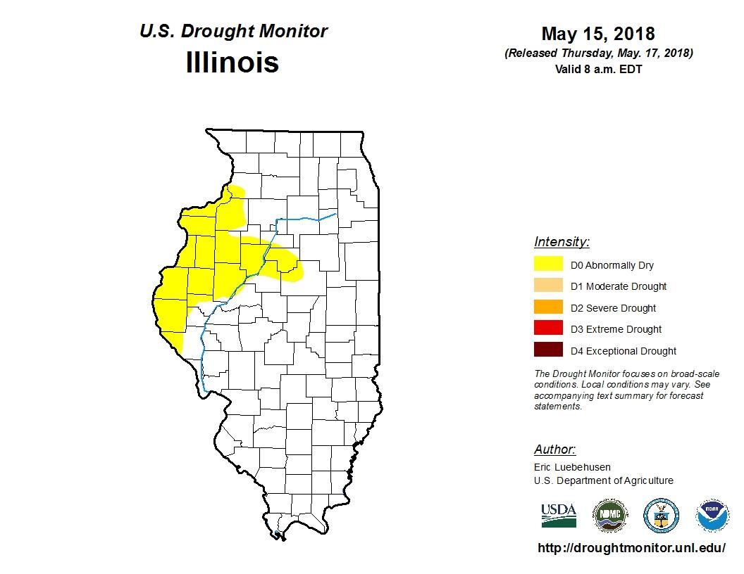 Abnormally Dry Conditions Persist In Portions Of Illinois Peoria - Il-on-us-map