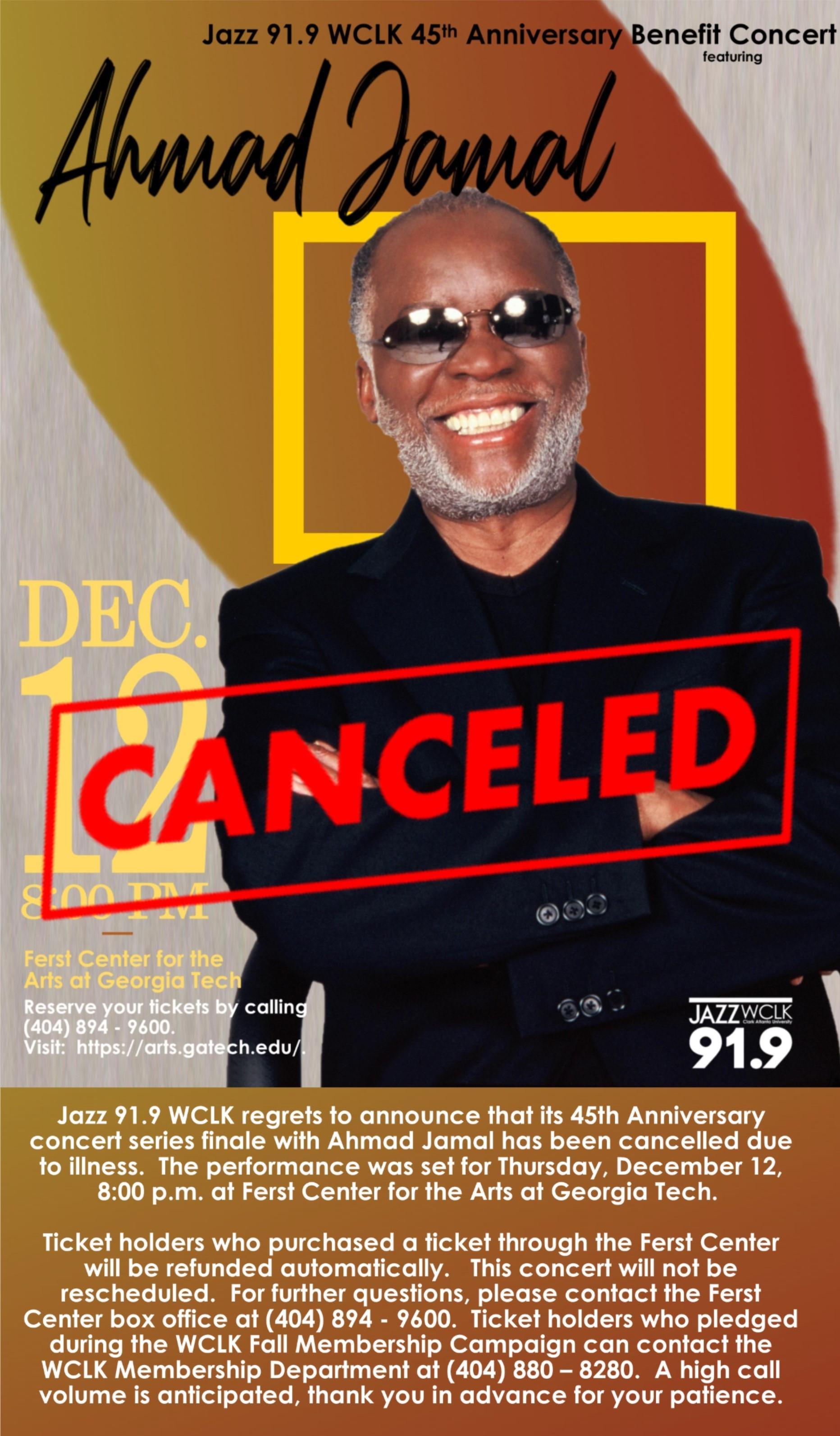 Ahmad Jamal December 12 Performance Cancelled | WCLK