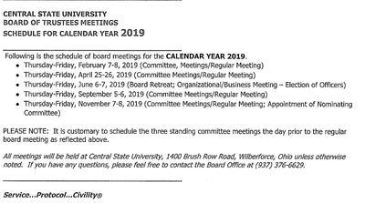 Wcsu Academic Calendar.Board Of Trustees Wcsu