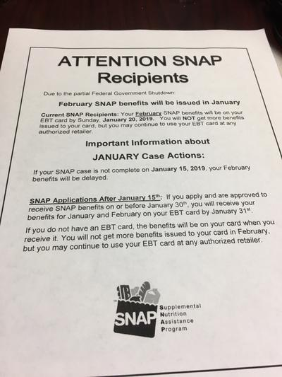 Food Aid A Concern As Government Shutdown Affects SNAP