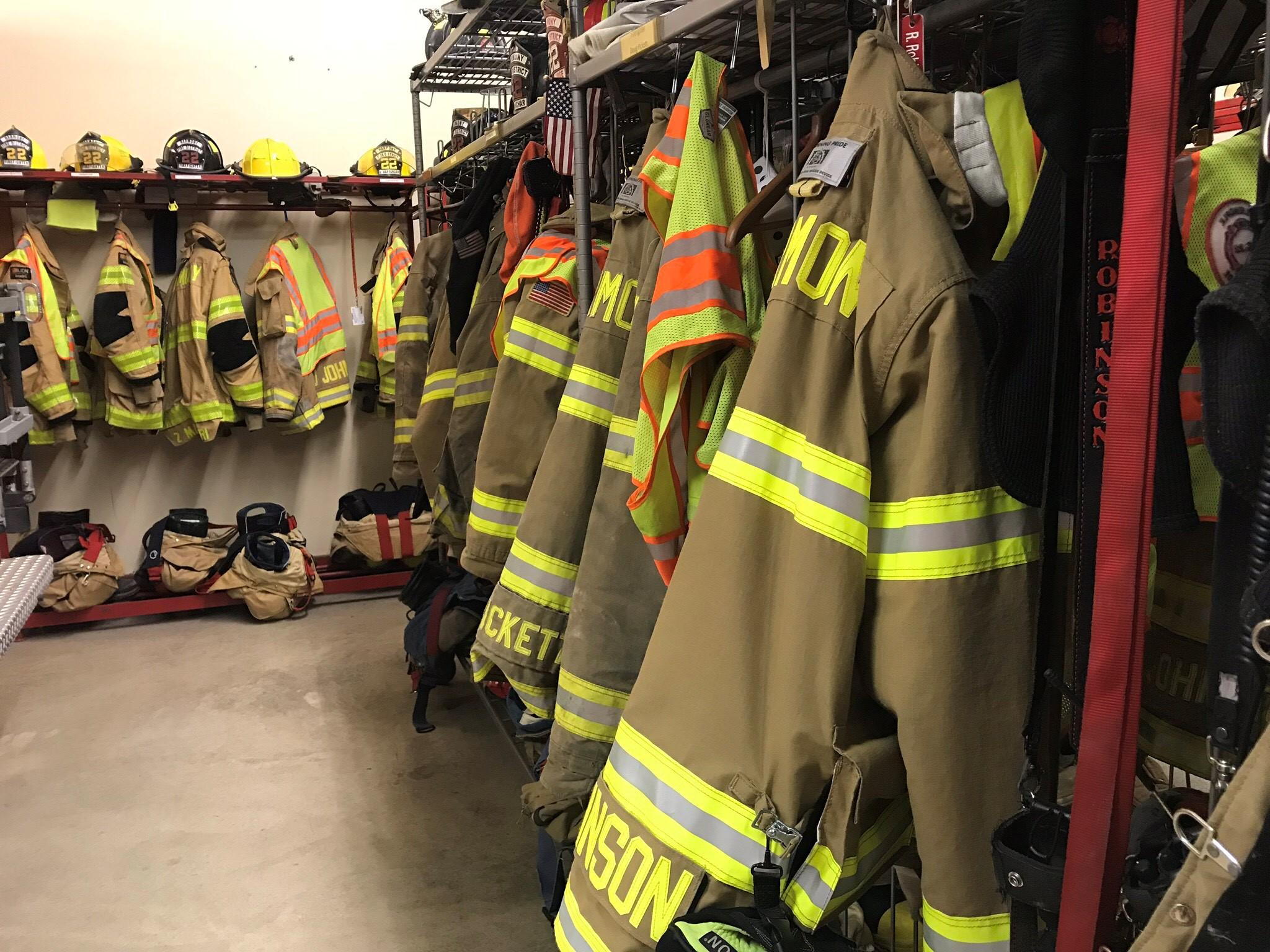 740d51f9 Bunker gear hangs in the garage of the Harmony Fire District fire house in  Harmony, Pa.