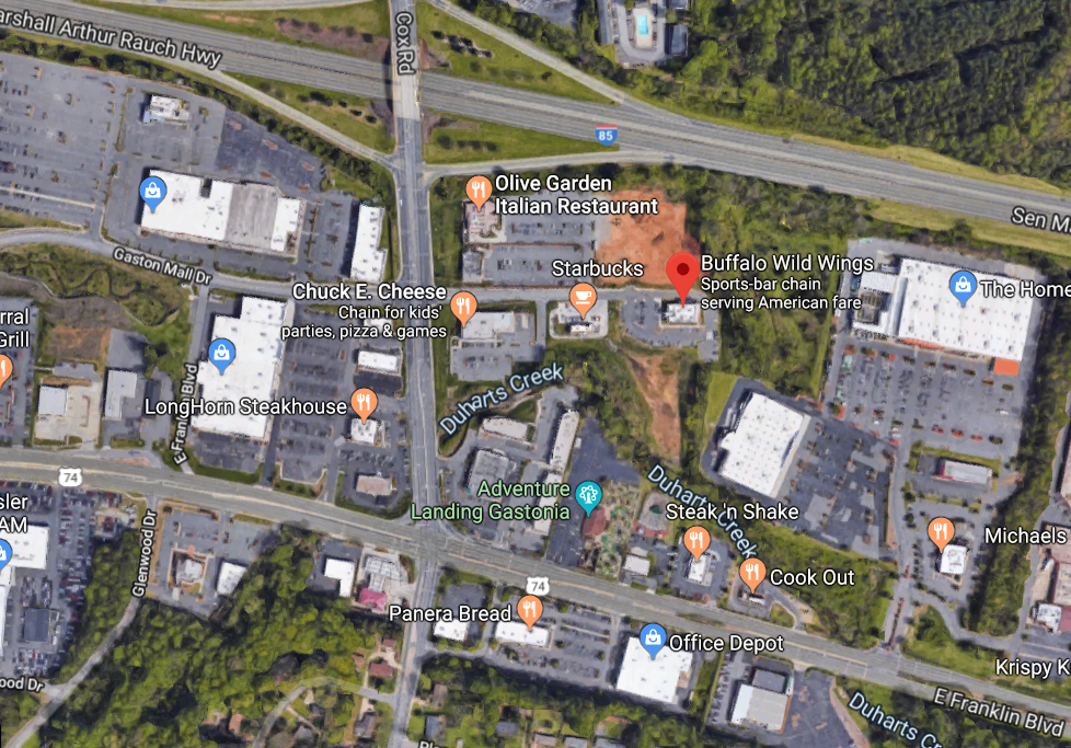 Man Injured In Police Shooting At Gastonia Buffalo Wild ... on petsmart map, burger king map, applebee's map, quiznos map, dairy queen map, chick-fil-a map,