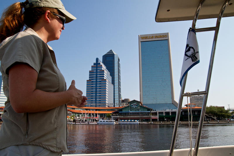 St. Johns Riverkeeper Lisa Rinaman monitors the river from her boat.
