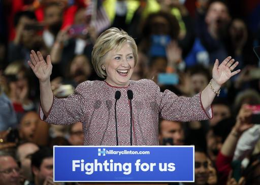 Democratic Presidential Candidate Hillary Clinton Celebrates On Stage After Winning The New York State Primary Tuesday April 19 2016 In