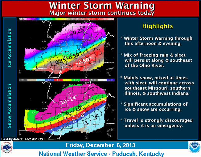 Winter Weather: Clarksville, TN Reports  4 of Ice and