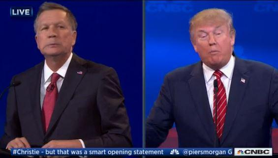 Kasich and Trump during the CNBC debate
