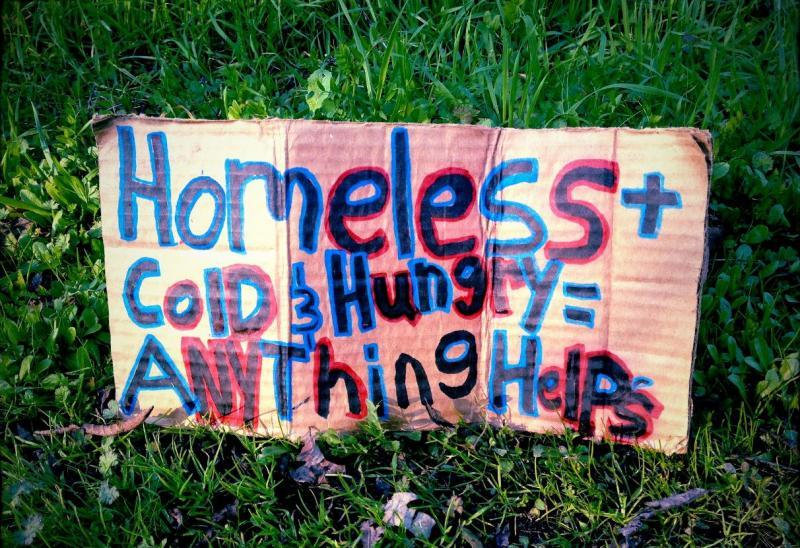 photo of homeless sign