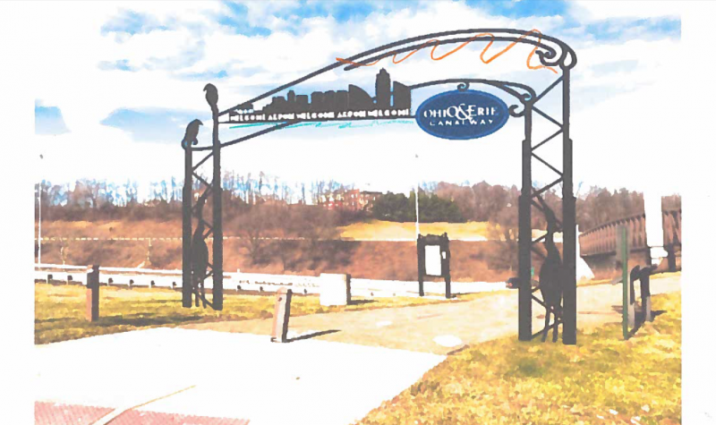 Artist rendering of the Towpath Trail archway in Akron