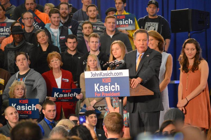 Photo of John Kasich after winning the Ohio primary