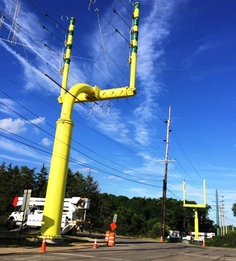 A photo of Power Lines For the Hall of Fame Village.
