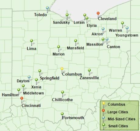 Map Of Cities In Ohio New Report Outlines the Struggles of Mid Sized Ohio Cities | WKSU Map Of Cities In Ohio