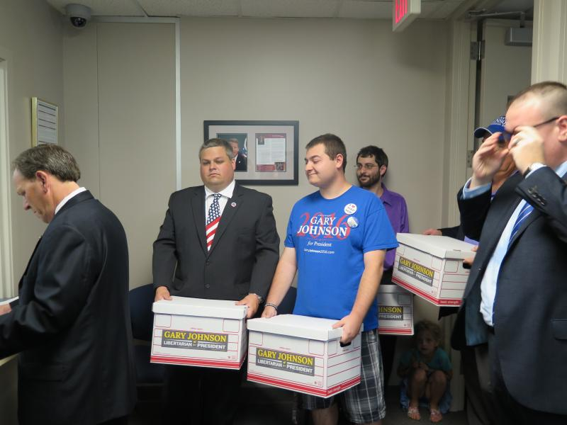Photo of boxes filled with petitions for Gary Johnson for president
