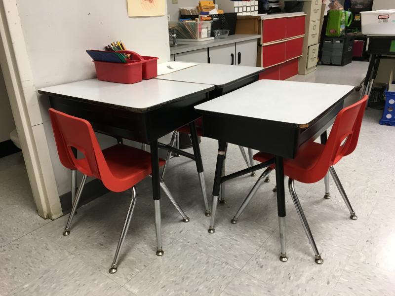 Photo of empty desks.