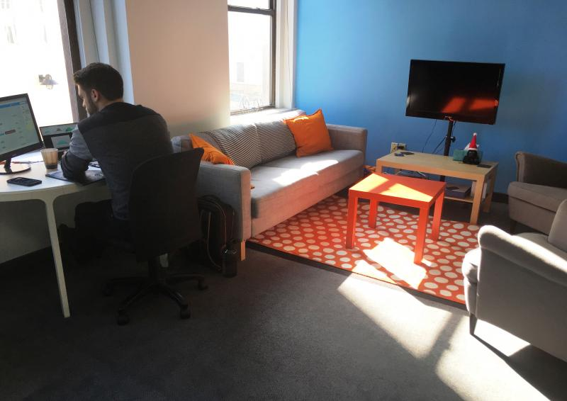 Sunlight fills the lounge space of Akron's co-working space, OSC Tech Labs.