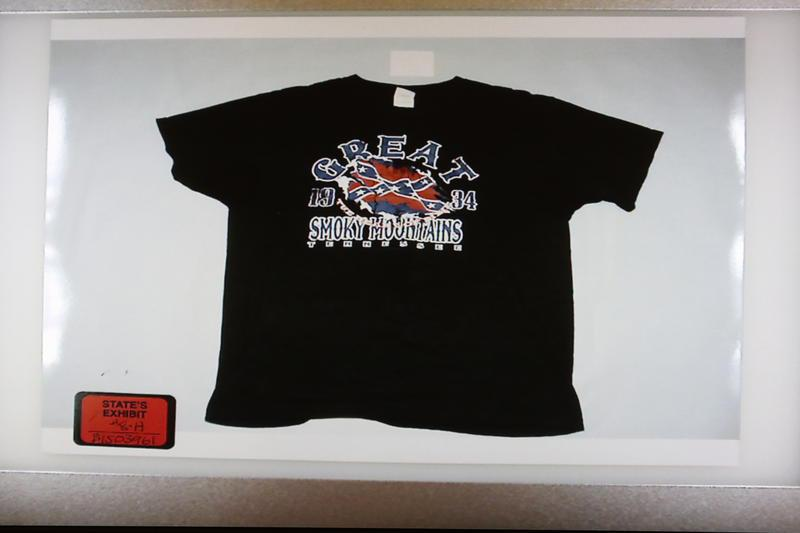 Photo of the shirt that will not be used as evidence.