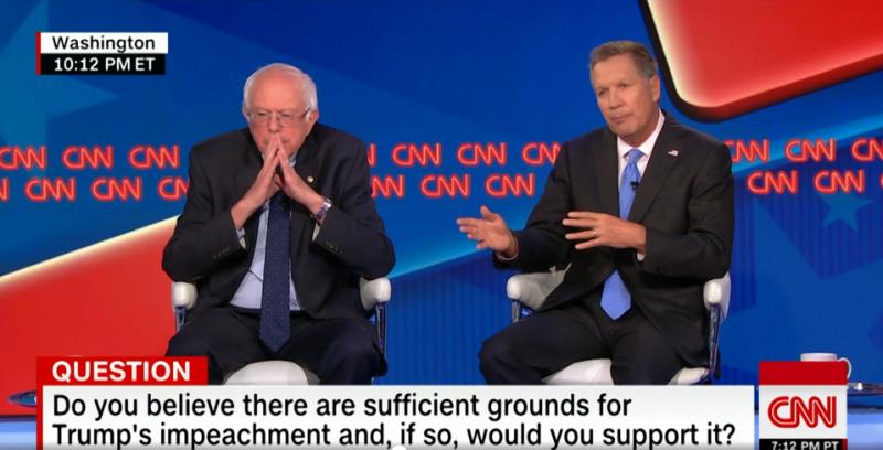 Photo of Vermont Sen. Bernie Sanders (Left) and Ohio Gov. John Kasich (right).