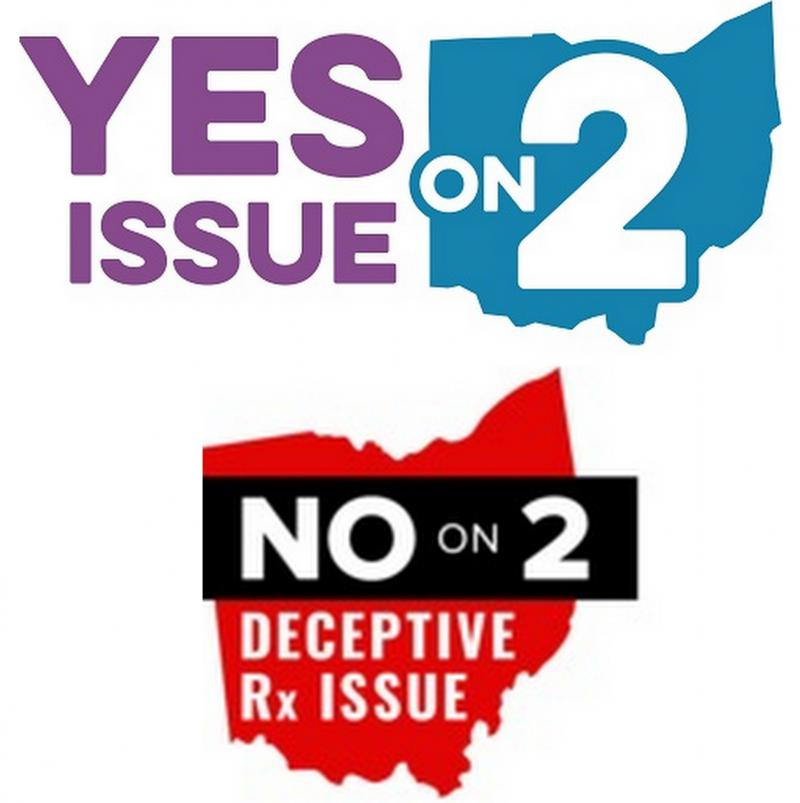 Yes on Issue 2 and No on Issue 2 logos