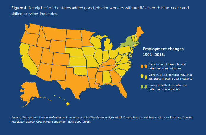 A map in relation to blue collar/skilled service loss and growth