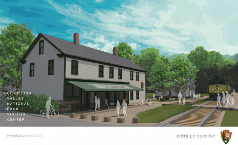 Illustration of the Boston Mill Visitor Center.
