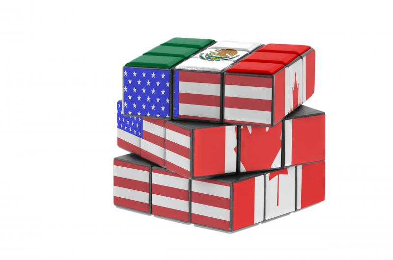 photo of Rubrik's cube with American, Mexican and Canadian Flags on it