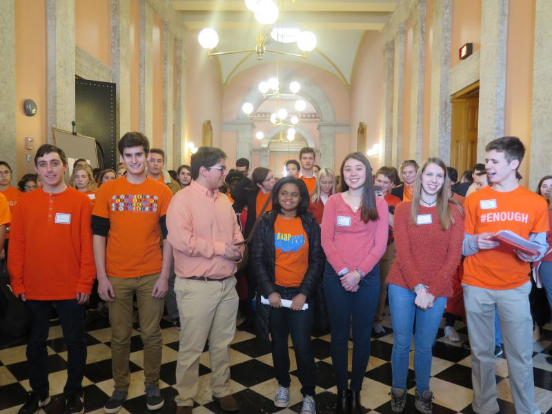 Students stand outside the Ohio Senate Chamber