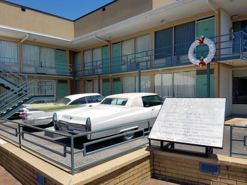 A photo at the Lorraine Motel/National Civil Rights Museum that shows a wreath designation where MLK was approximately standing when he was shot.