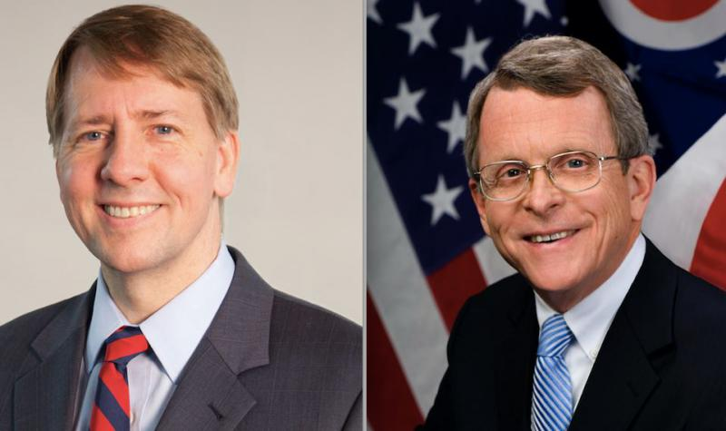 Democrat Richard Cordrary (left) will face Republican Mike DeWine (right) in the November election. Ohio primary voters chose two centrist candidates who fought off challenges from both the far right and far left.