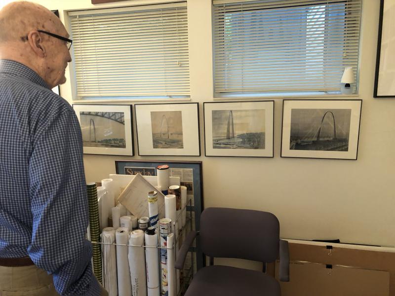 Peter van Dijk looks towards original drawings of the Gateway Arch in St. Louis designed by his mentor Eero Seranin.