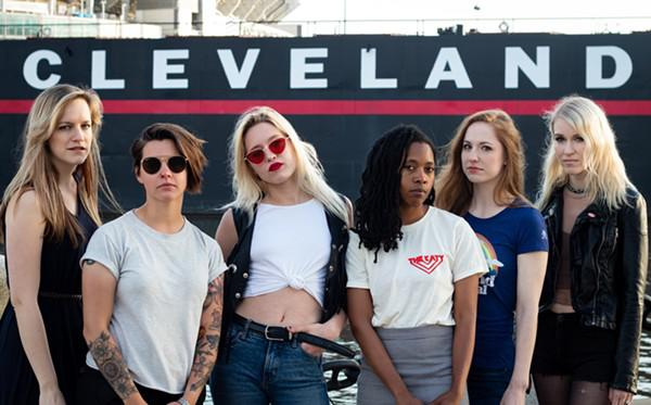 Alison Tomin of AJ & The Woods (left), Madeline Finn of the Whiskey Hollow, Charity Cunningham of Samfox, Cathalyn of The Katy, comedian Megan Brautigam, and Jenna Fournier of Niights