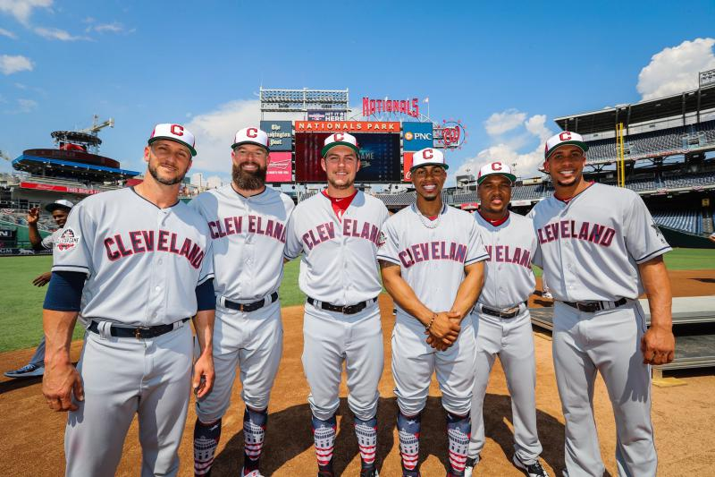The Cleveland Indians have six All-Stars. From the left, Yan Gomes, Corey Kluber, Trevor Bauer, Francisco Lindor, Jose Ramirez, Michael Brantley