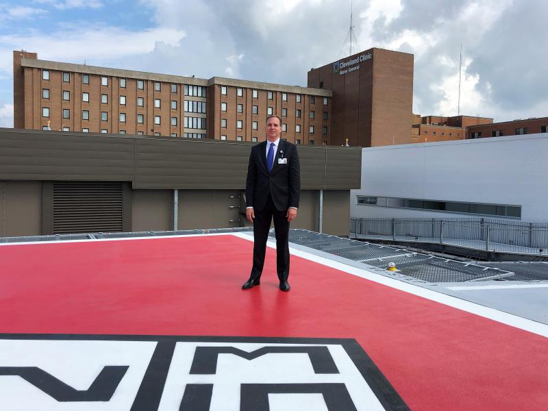 Dr. Steven Brooks is the head of Cleveland Clinic Akron General's emergency department, which includes a helipad on the roof of the new facility.