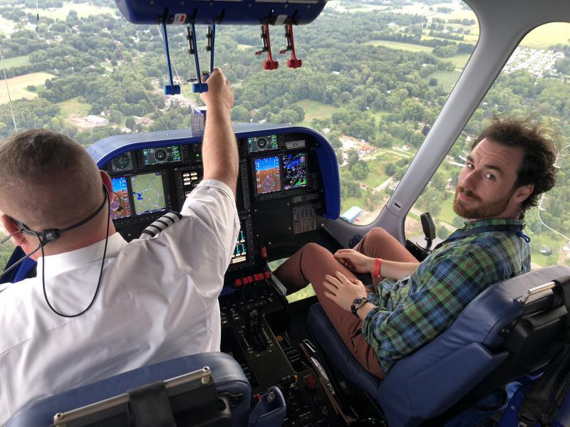WKSU reporter Mark Arehart in the co-pilot's seat on the Goodyear blimp Wingfoot Three