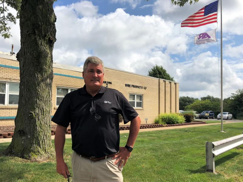 Dan Collins is vice president of sales and marketing at Wire Products Company in Cleveland. He says steel tariffs have caused an upheaval in his business and hopes for a speedy resolution of trade disputes with suppliers.