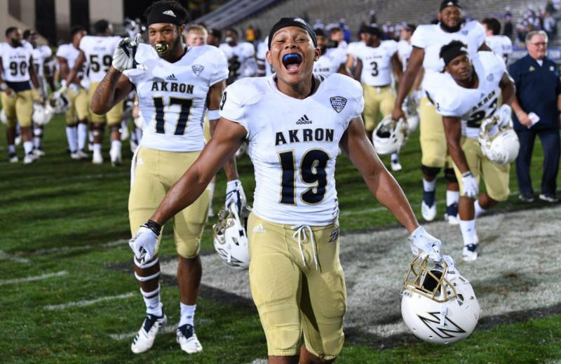 The University of Akron stunned the Big Ten's Northwestern