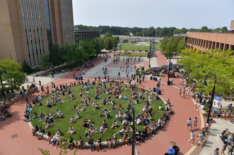 Risman Plaza on the Kent campus of Kent State University