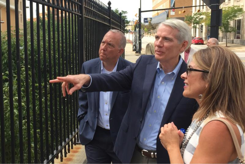 photo of Rob Portman, Dan Horrigan, Beth Borda