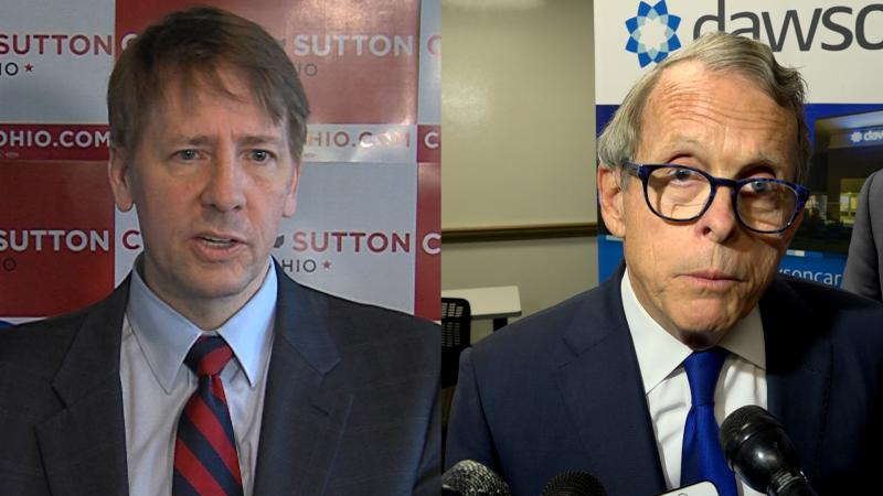 A photo of Richard Cordray (left) and Mike DeWine (right).
