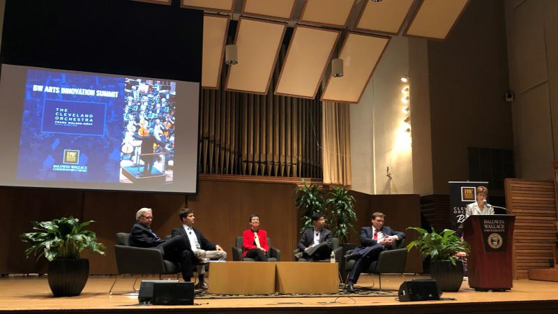 The panel on stage at Baldwin Wallace University.