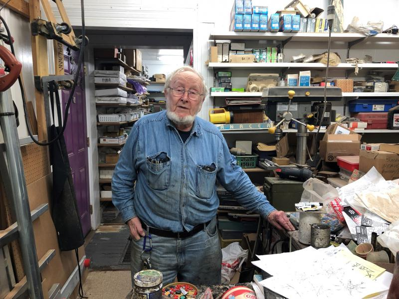 Sculptor Don Drumm works in his private studio almost every day.