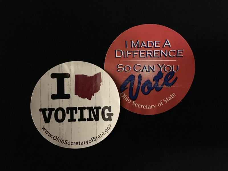 A picture of two Ohio voting stickers.