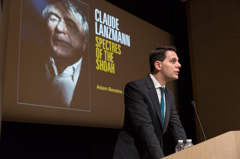 """Filmmaker Adam Benzine discusses his Oscar-nominated HBO documentary """"Claude Lanzmann: Spectres of the Shoah,"""" at the United States Holocaust Memorial Museum in Washington, D.C. in April 2016."""