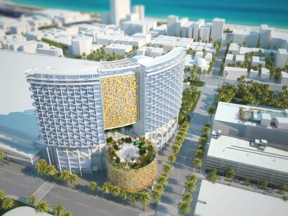This Rendering Shows The Overhead View Of Proposed Convention Center Hotel In Miami Beach 800 Room Would Be 288 Feet Tall