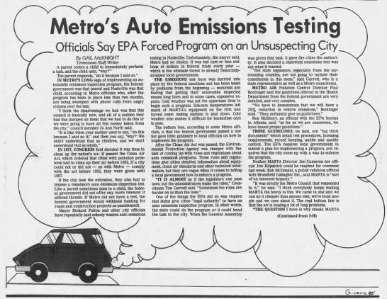 Emissions Testing Nashville Tn >> Tennessee Lawmakers Try To Eliminate Vehicle Emissions Tests