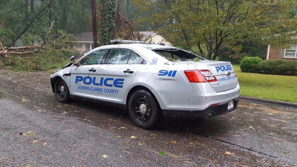 Tree Falls on ACCPD Officer's Patrol Car | WUGA | University