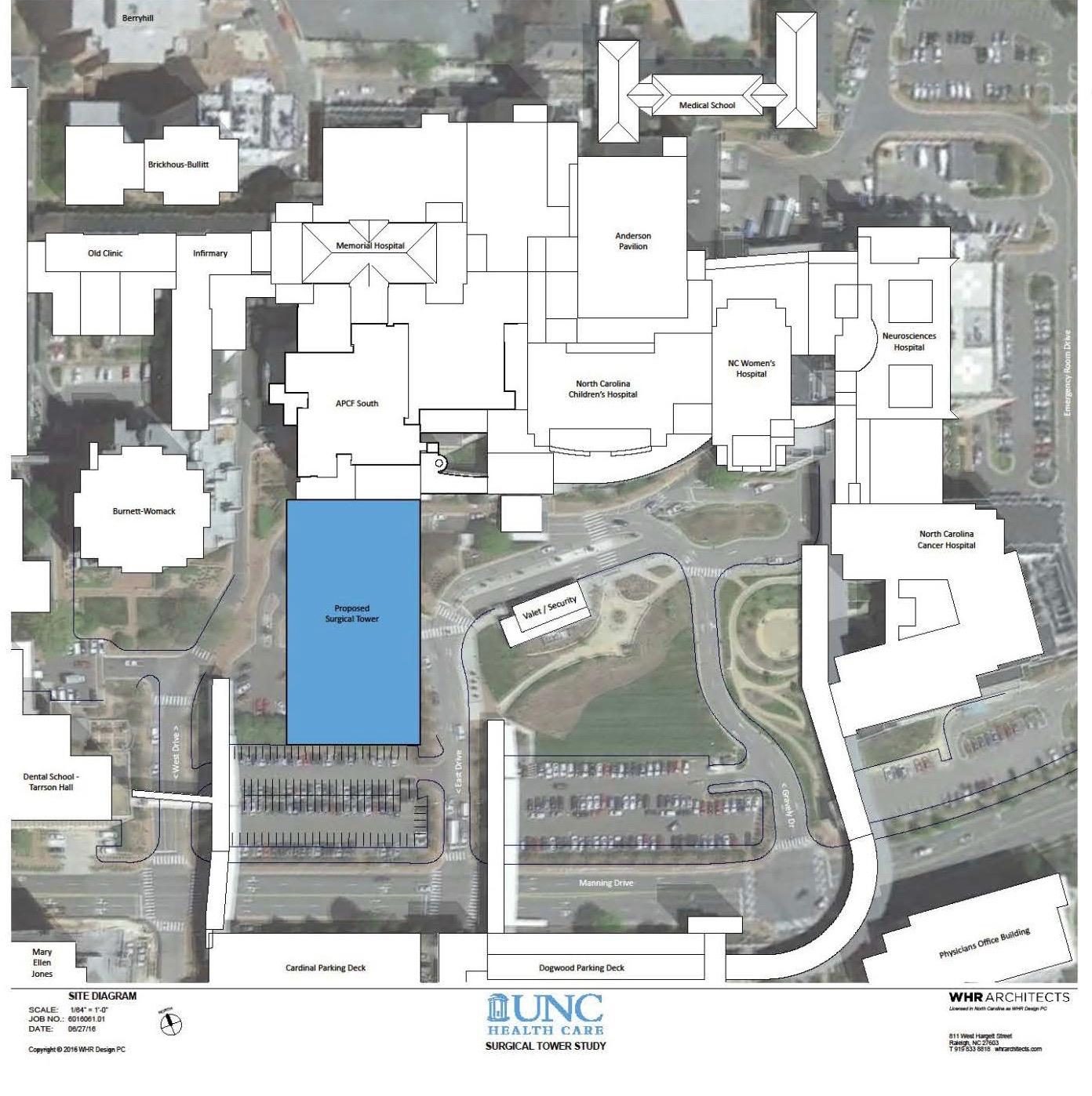 UNC Hospitals To Add New Surgical Tower On Chapel Hill's ... on chapel hill nc county map, cal state hayward campus map, univ of md campus map,