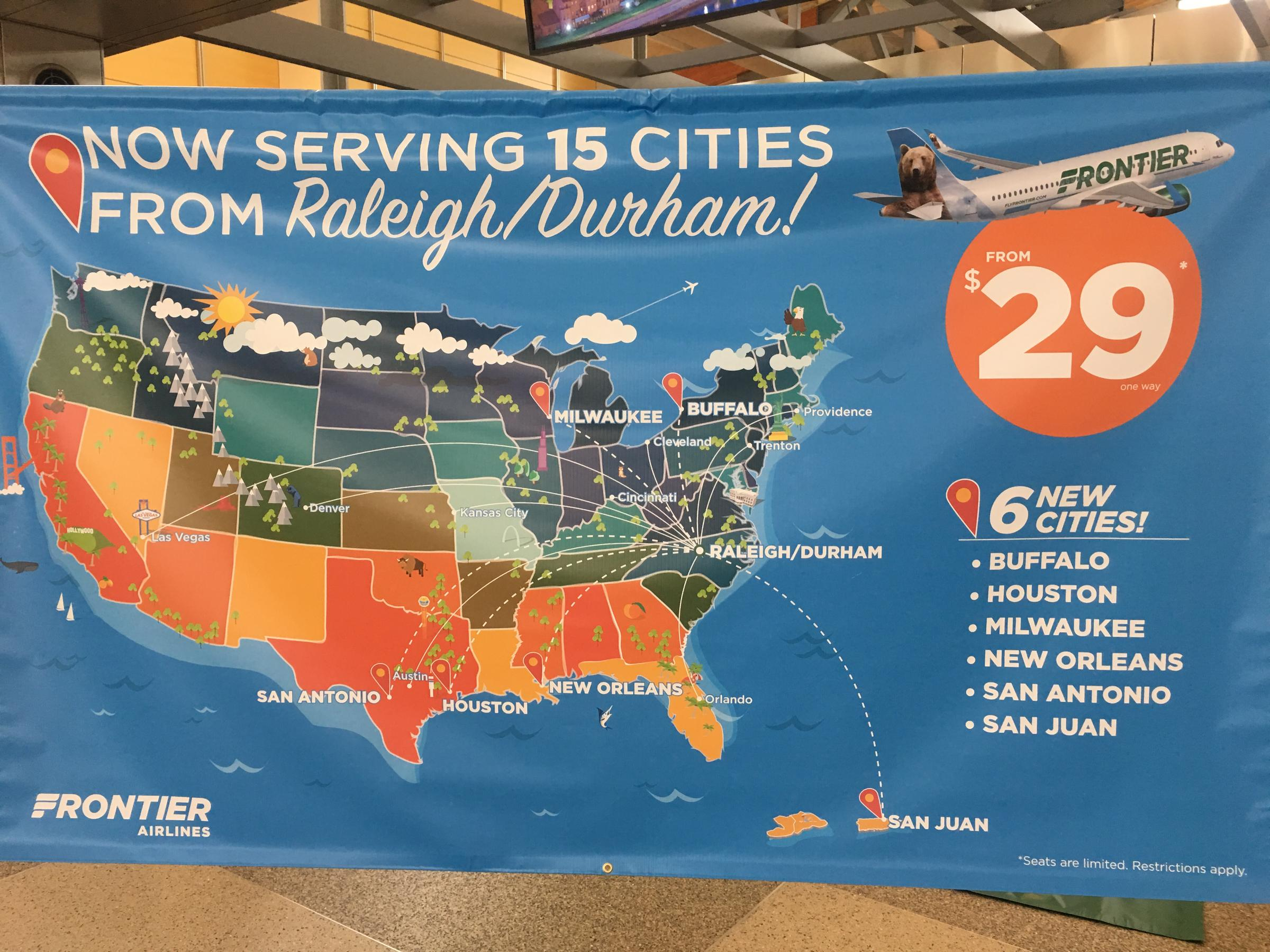 Frontier Adds Six Nonstop Flights From RDU | WUNC on ewn airport map, evv airport map, rno airport map, mfe airport map, lft airport map, fnt airport map, mlu airport map, fai airport map, clt airport map, bgr airport map, durham airport map, eug airport map, portland international airport map, ilm airport map, jac airport map, edi airport map, roc airport map, sbp airport map, airlines washington dulles airport map, fay airport map,