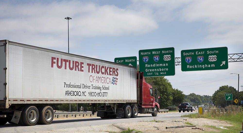 A student gets time behind the wheel on Interstate 73 on Wednesday, June 13, 2018, in Asheboro, N.C. Future Truckers of America has trained drivers for over ...