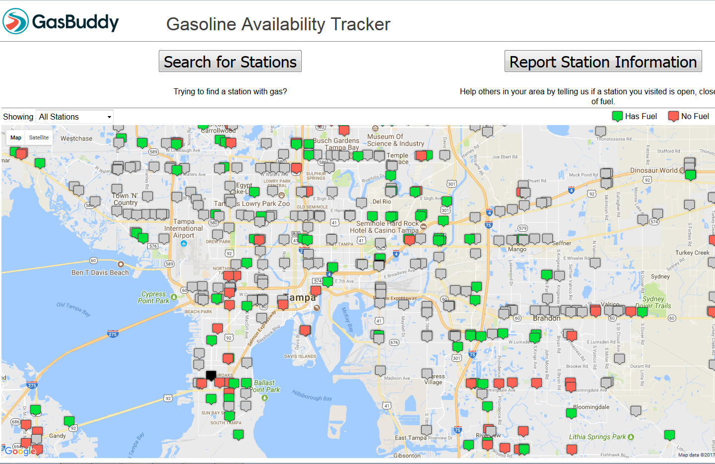 Facing Fuel Shortages, Floridians Can Use 'Gas Buddy' App ... on mapquest map, craigslist map, microsoft map, rocky mountain crude pipeline map, starbucks map, pal codes map, bank of america map, national geographic map, fuel-cost map, google map, disneyland hong kong map, target map, evernote map, foreign military sales country map,