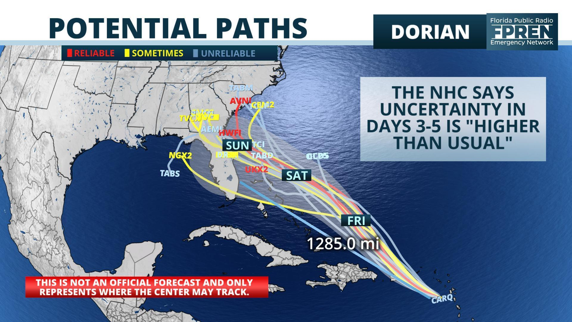 The potential tracks for Tropical Storm Dorian. FLORIDA PUBLIC RADIO EMERGENCY NETWORK