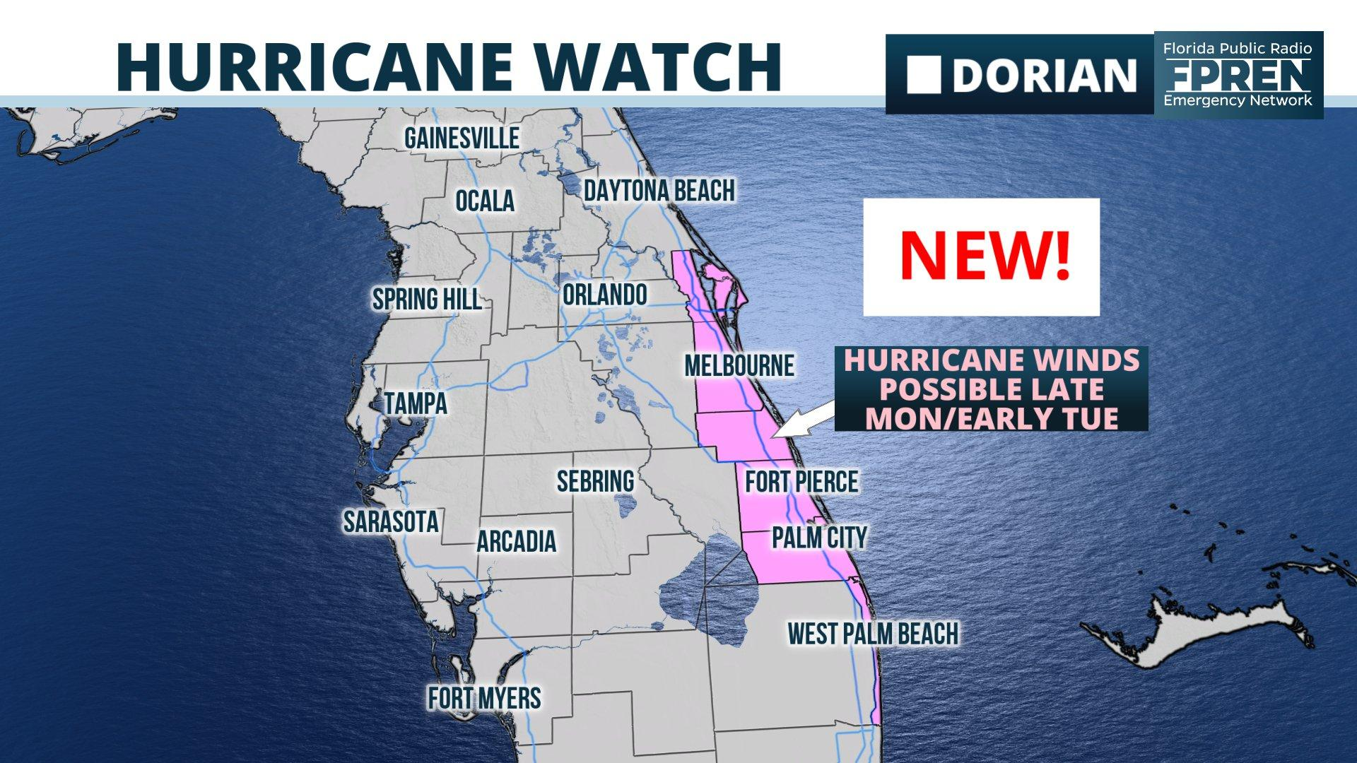 A hurricane watch was issued for parts of Florida's east coast